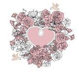 Struttura d'annata nella forma di cuore, con fondo floreale Fotografie Stock Libere da Diritti