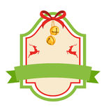 Struttura d'annata piana dell'icona dell'etichetta di Natale con Jingle Bells ed il De Fotografia Stock Libera da Diritti