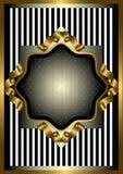 Struttura d'argento con la decorazione dell'oro su fondo a strisce Fotografia Stock