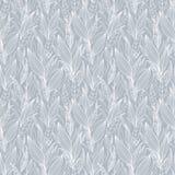 Struttura d'argento di Grey Detailed Leaves Seamless Pattern di vettore Grande per gli ambiti di provenienza, carta da parati, te Immagine Stock