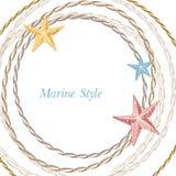 Struttura decorativa del mare con le stelle marine Fotografie Stock Libere da Diritti