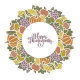 Struttura decorativa del raccolto di Autumn Thanksgiving con frutta e le verdure illustrazione vettoriale