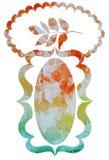 Struttura decorativa dell'acquerello con le foglie e posto per il vecto del testo Immagine Stock