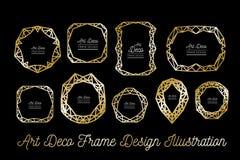 Struttura decorativa di Art Deco Righe dorate Invito di cerimonia nuziale Vettore Fotografia Stock