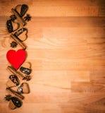 Struttura dei biscotti del biglietto di S. Valentino o di Natale con spazio vuoto per il testo di progettazione Biglietti di S. V Fotografie Stock