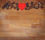 Struttura dei biscotti del biglietto di S. Valentino o di Natale con spazio vuoto per il testo di progettazione Biglietti di S. V Immagini Stock Libere da Diritti