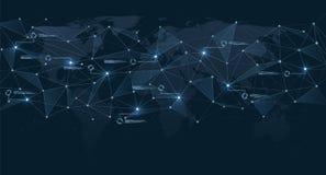 Struttura dei collegamenti poligonali sulla mappa di mondo Visualizzazione di dati digitali e della rete globale illustrazione vettoriale
