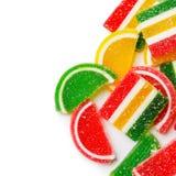 Struttura dei dolci Caramelle variopinte della gelatina isolate su bianco Immagini Stock Libere da Diritti