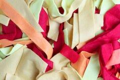 Struttura dei pezzi variopinti di tessuto Immagini Stock