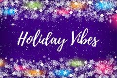 Struttura del confine delle luci di natale e dei fiocchi di neve con il posto per qualsiasi testo per l'invito di vacanze inverna fotografia stock
