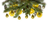 Struttura del confine di Natale del ramo di albero dell'abete su fondo bianco isolato Fotografia Stock Libera da Diritti