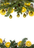 Struttura del confine di Natale del ramo di albero dell'abete su fondo bianco isolato Immagine Stock