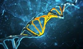 Struttura del DNA dell'illustrazione di Digital nel fondo blu Fotografie Stock Libere da Diritti
