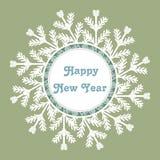 Struttura del fiocco di neve Scheda di nuovo anno felice Illustrazione di vettore Immagini Stock