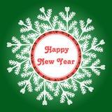 Struttura del fiocco di neve Scheda di nuovo anno felice Illustrazione di vettore illustrazione vettoriale