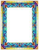 Struttura del fiore dell'illustrazione del vetro macchiato, fiori luminosi e foglie nel telaio blu su un fondo bianco Fotografie Stock Libere da Diritti