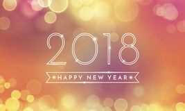 Struttura del fondo da 2018 buoni anni con i fuochi d'artificio di scintillio Testo e numeri brillanti dell'oro di vettore Fotografie Stock Libere da Diritti