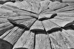 Struttura del fondo degli strati di legno scuri sotto forma del cerchio Fotografia Stock Libera da Diritti