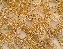 Struttura del fondo dei cuori dell'oro Immagini Stock Libere da Diritti