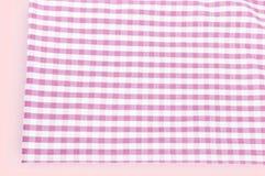 Struttura del fondo del tessuto rosa del plaid Fotografia Stock
