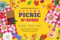Struttura del fondo di picnic di autunno Manifesto di vettore o modello dell'insegna All'aperto fine settimana ed illustrazione d royalty illustrazione gratis