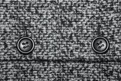 Struttura del fondo di saia con due grandi bottoni neri Fotografia Stock