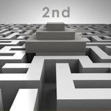 struttura del labirinto 3D e secondo podio del posto Fotografia Stock Libera da Diritti
