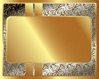 Struttura del metallo con il modello con il piatto di oro illustrazione di stock