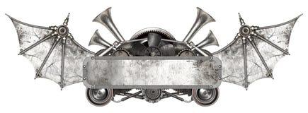 Struttura del metallo di Steampunk e vecchia automobile automatica dei pezzi di ricambio Fotografia Stock