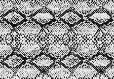 Struttura del modello della pelle di serpente che ripete bianco e nero monocromatico senza cuciture Vettore illustrazione di stock