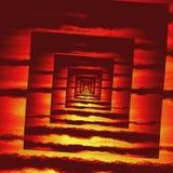 Struttura del modello di spirale del quadrato del fuoco rosso di prospettiva Fotografia Stock Libera da Diritti