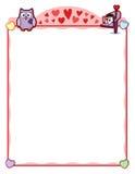 Struttura del partito del biglietto di S. Valentino con il gufo e la cassetta delle lettere della lettera di amore Fotografia Stock Libera da Diritti