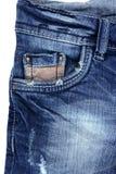 Struttura del primo piano del particolare della casella delle blue jeans del denim Fotografie Stock Libere da Diritti