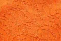 Struttura del tessuto arancio del broccato Fotografia Stock Libera da Diritti