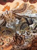 Struttura del tessuto con l'ornamento floreale ed il beadwork immagine stock