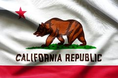 Struttura del tessuto delle bandiere della bandiera di California da U.S.A. Fotografie Stock Libere da Diritti