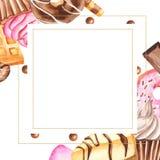 Struttura dell'acquerello con i dolci royalty illustrazione gratis