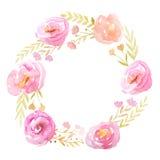 Struttura dell'acquerello con i fiori e le foglie Fotografie Stock