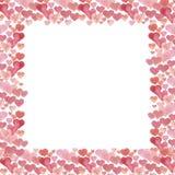 Struttura dell'acquerello dei cuori Fondo di giorno del ` s del biglietto di S. Valentino dell'acquerello immagine stock