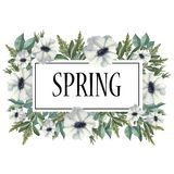 Struttura dell'acquerello dei fiori e dei rami con le foglie verdi illustrazione di stock