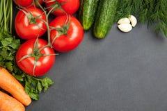 Struttura dell'alimento verdure per la cottura, sul fondo scuro, della vista superiore, struttura bandiera Immagine Stock Libera da Diritti