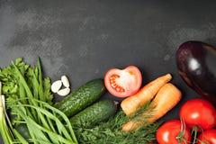 Struttura dell'alimento verdure per la cottura, sul fondo scuro Pagina Vista superiore, insegna Fotografia Stock