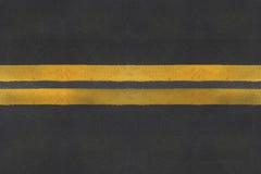 Struttura dell'asfalto con la riga gialla Fotografia Stock Libera da Diritti