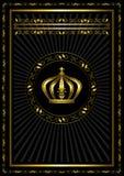 Struttura dell'oro con un distintivo e corona su fondo nero Fotografie Stock