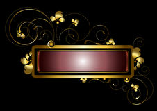 Struttura dell'oro decorata con i riccioli, le perle ed i petali dorati Fotografia Stock