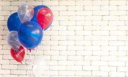 Struttura della bandiera americana sui palloni fotografie stock