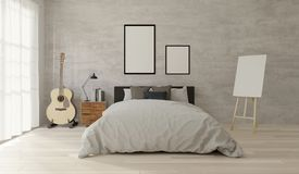 struttura della camera da letto di stile del sottotetto della rappresentazione 3D per derisione su illustrazione di stock
