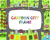 Struttura della città del fumetto Tracci il paesaggio con le città, le montagne, le strade, il mare, il lago, la foresta e le mon Fotografia Stock Libera da Diritti