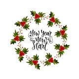 Struttura della corona dell'acquerello con il vischio Per la cartolina d'auguri e dell'invito Nuovo inizio del nuovo anno Handw i illustrazione di stock