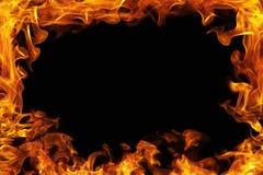 Struttura della fiamma intorno ai precedenti neri Fotografia Stock